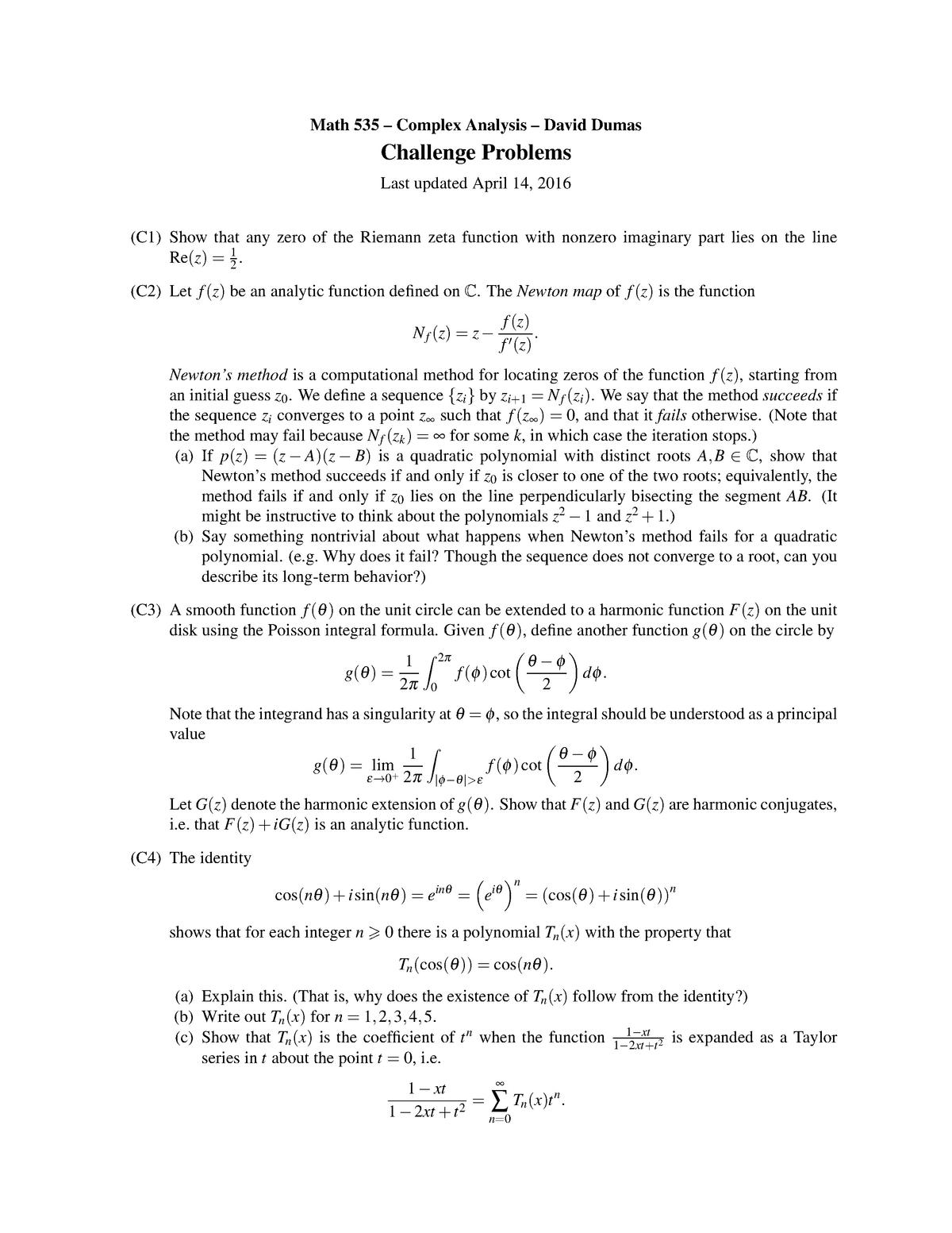 Math 535 - Challenge Problems - MATH 535: Complex Analysis I