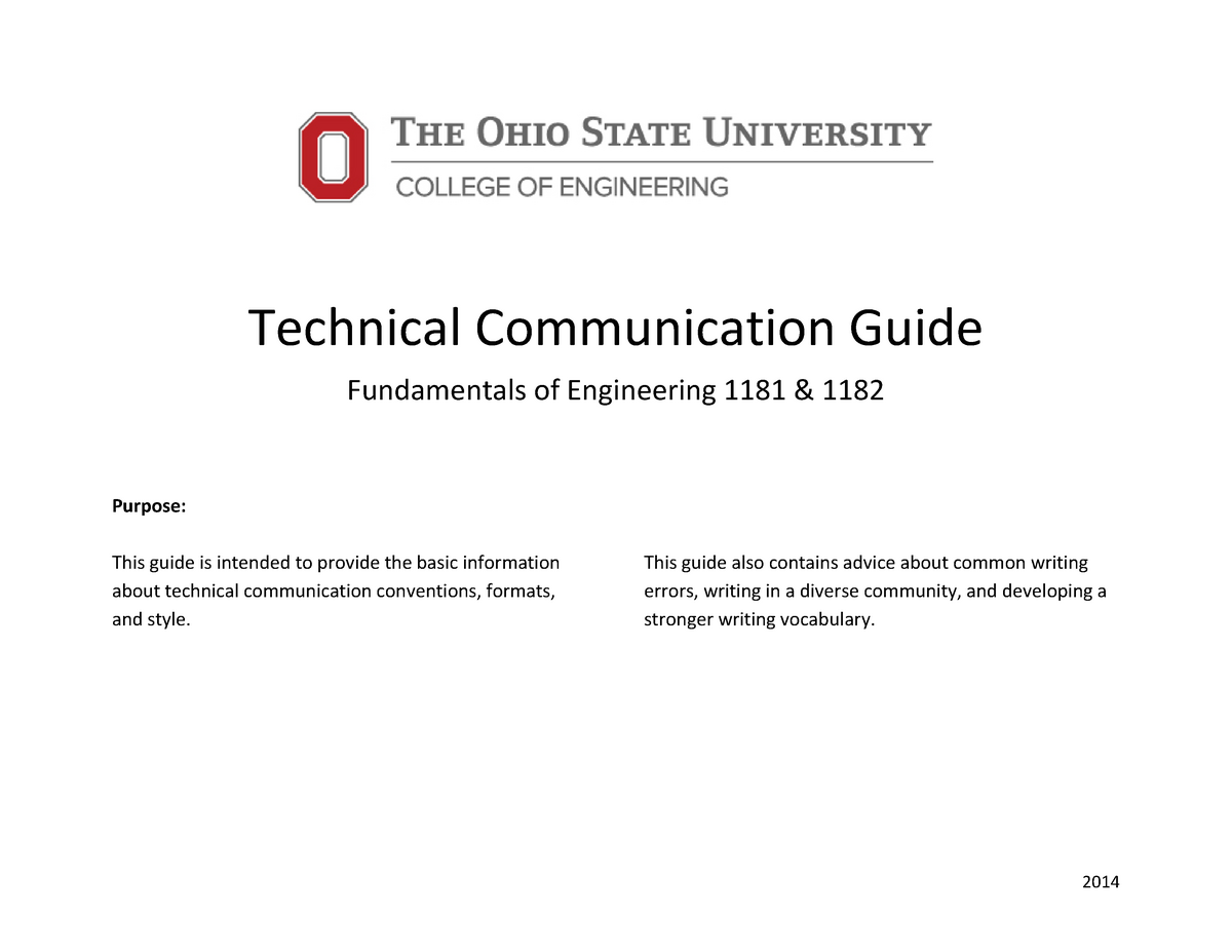 Technical communication guide (2015) - ENGR 1181: Fundamentals of