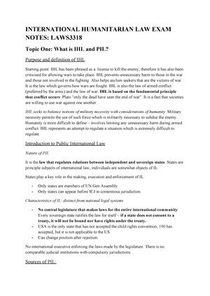 Lecture notes, international humanitarian law - LAWS3318