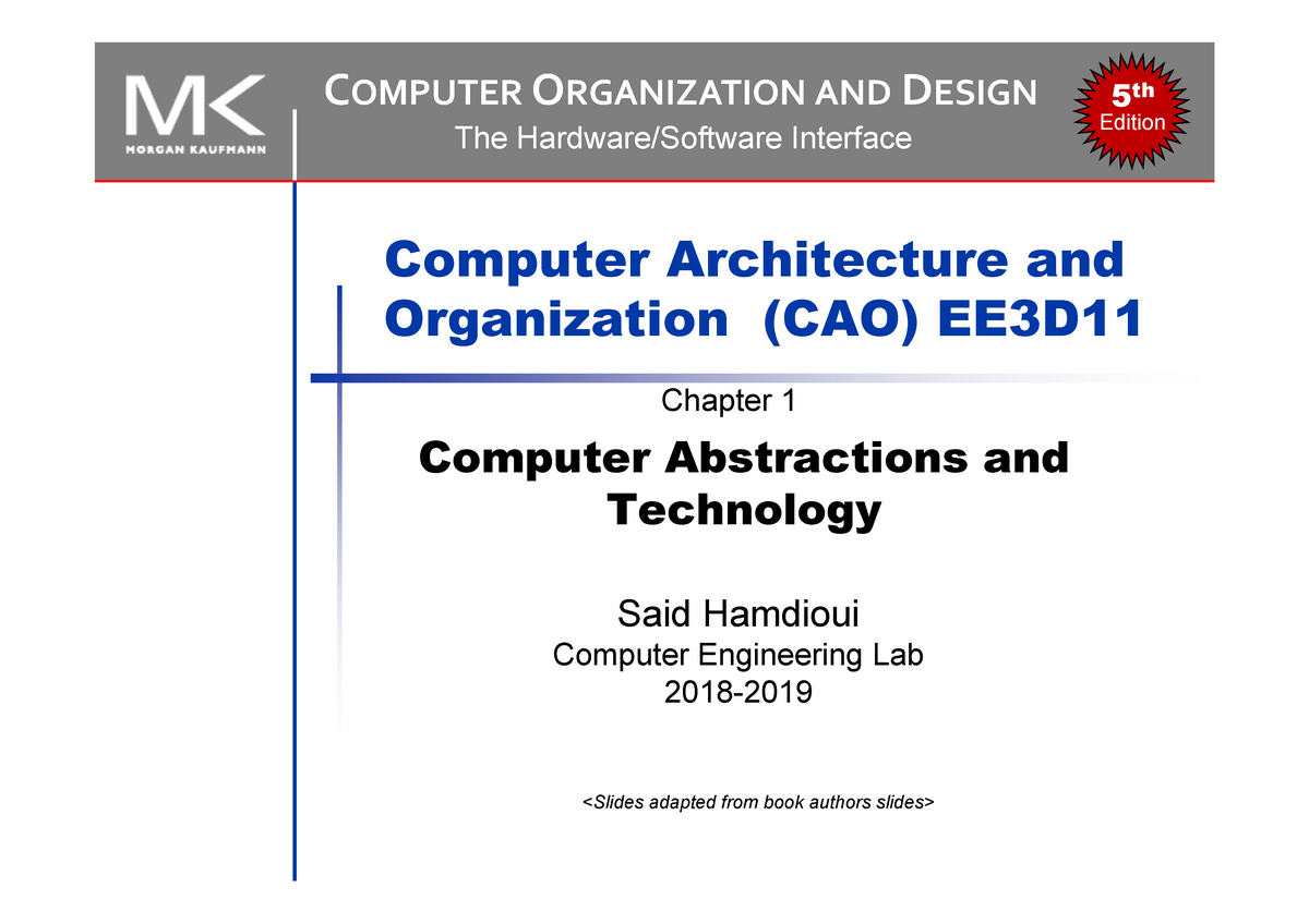 1 Chapter 1 Computer Abstractions And Technology 1slide Per Page1 Studocu