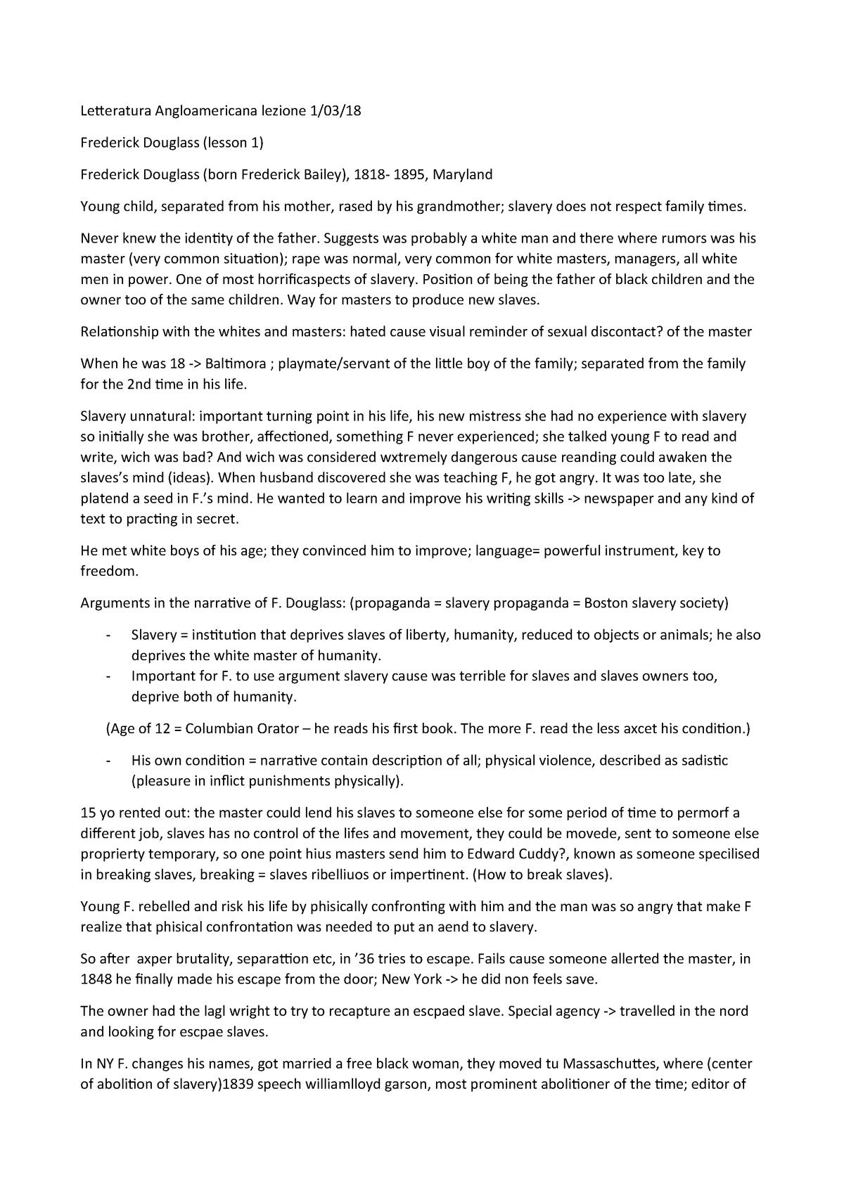 Lezione 1-03-18 Frederick Douglass - 010LE: Letteratura