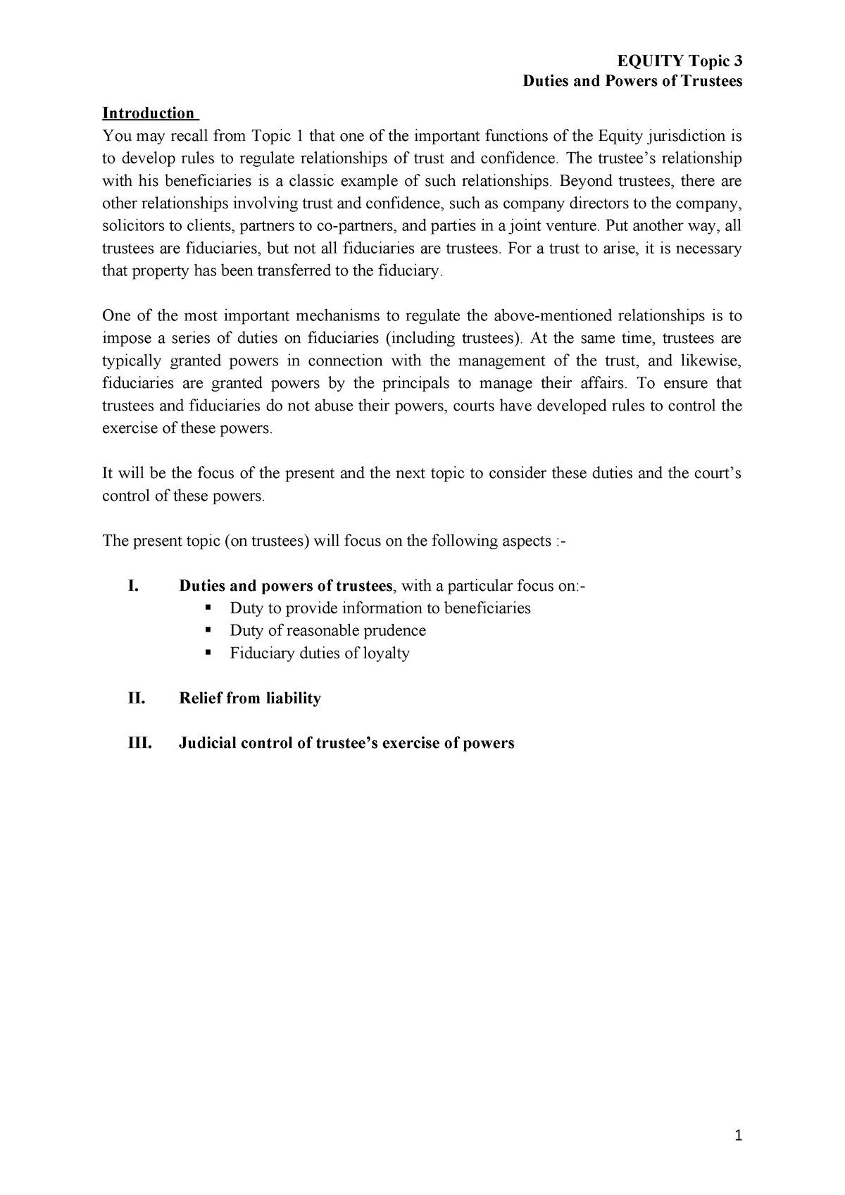 Equity Lecture Topic 3 Duties and Powers of Trustees - HKU