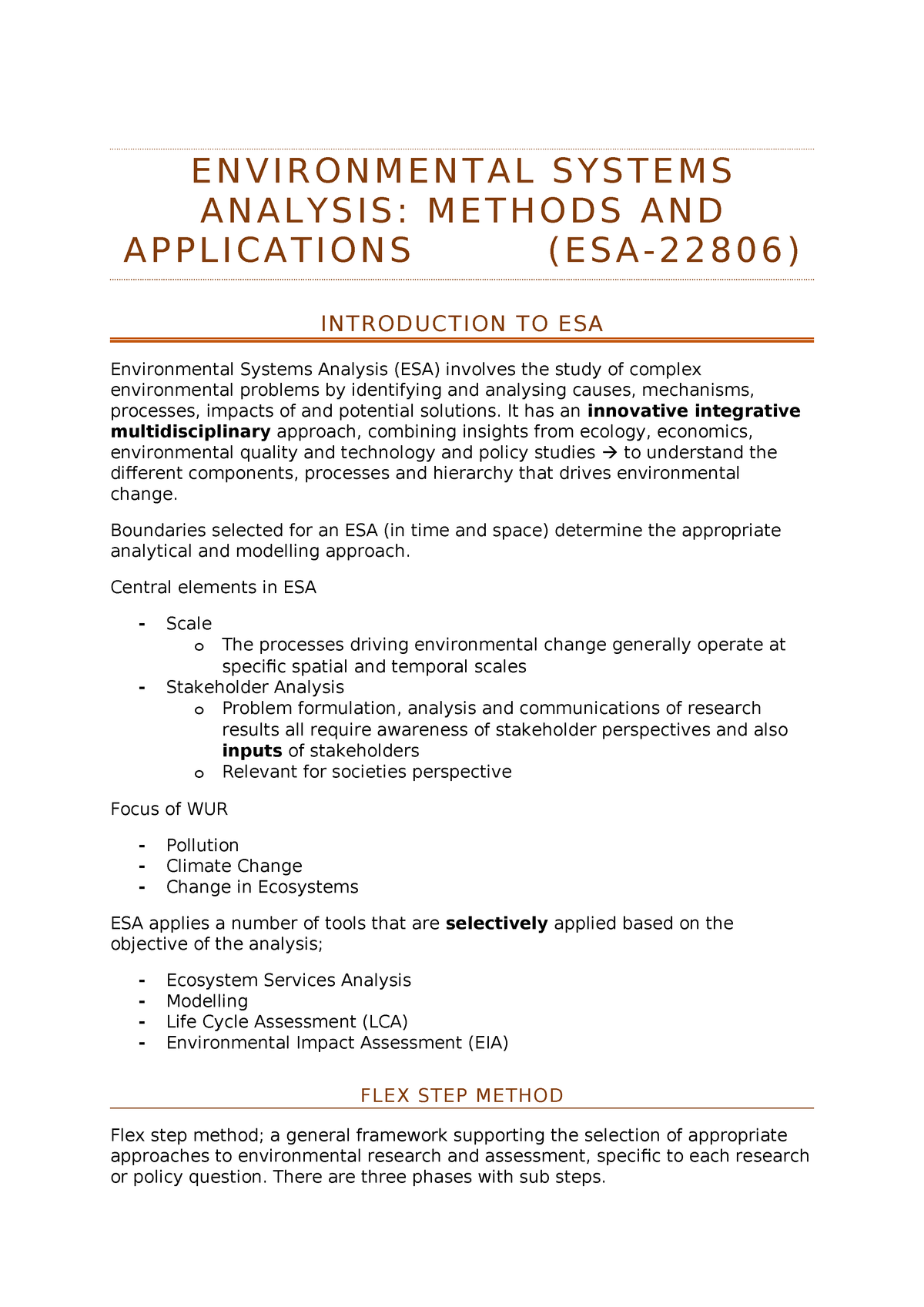 Having A Hard Time Focusing Research Identifies Complex Of >> Samenvatting Esa 22806 Environmental Systems Studeersnel Nl
