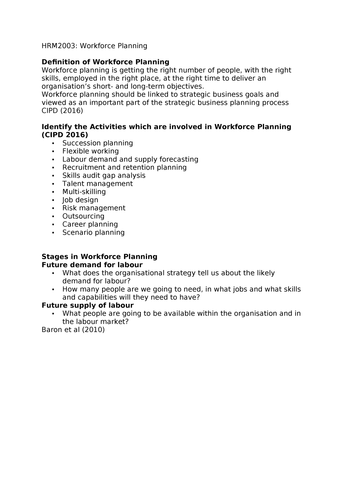 HRM2003 Workforce Planning - Managing Human Resources - StuDocu