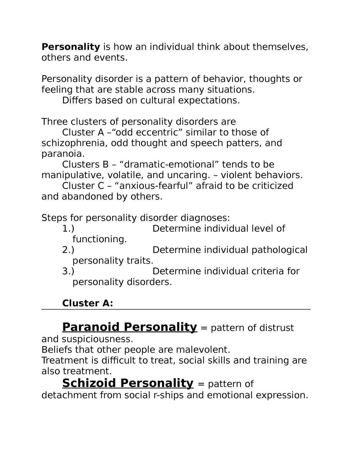 Personality Notes - Lecture notes for Exam #2 - PSYC 3375