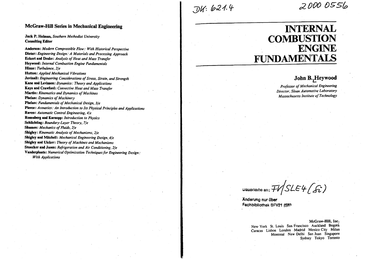 Internal Combustion Engines Fundamentals By J Kmutnb Studocu