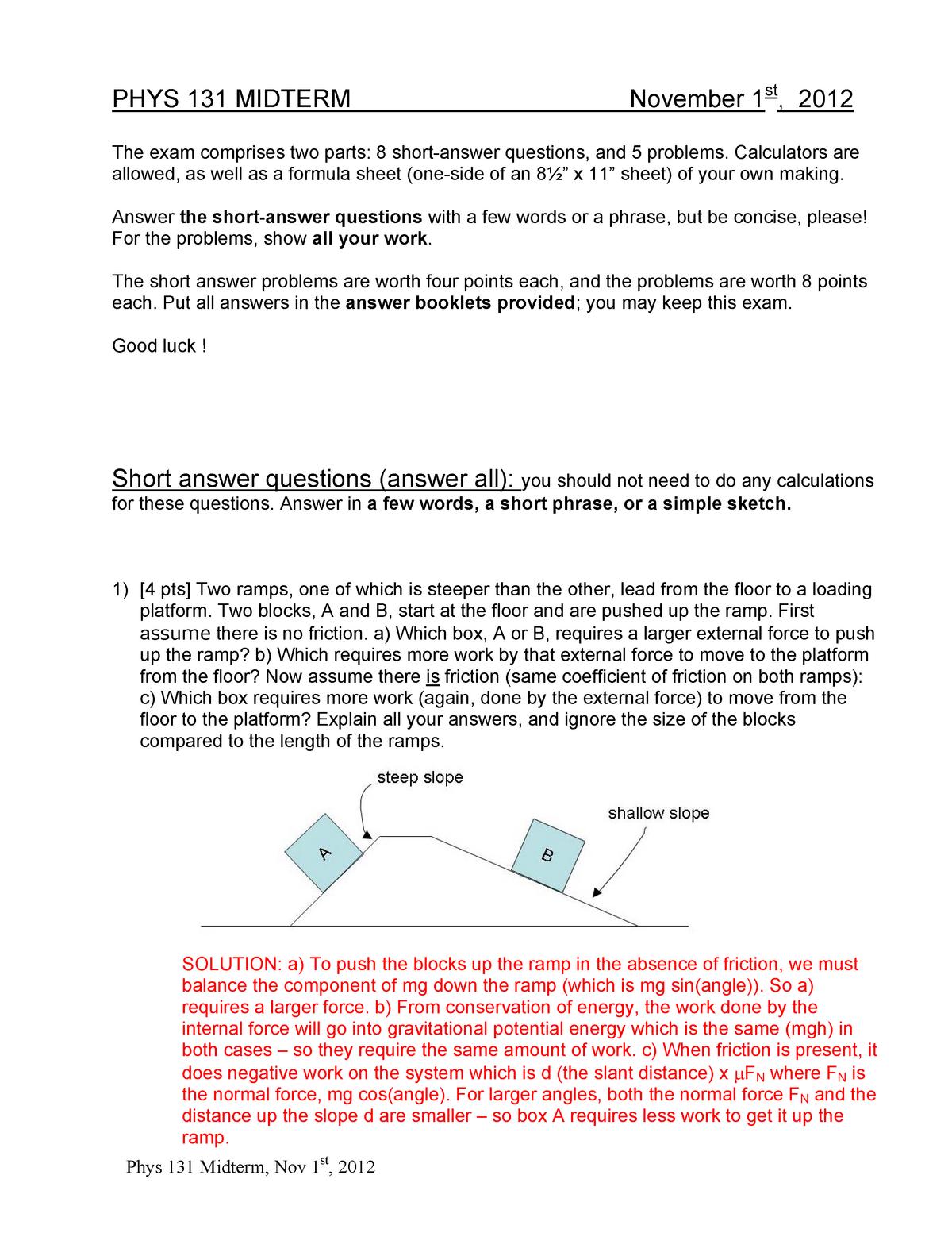 Exam 2012 - Phys 131: Mechanics and Waves - StuDocu