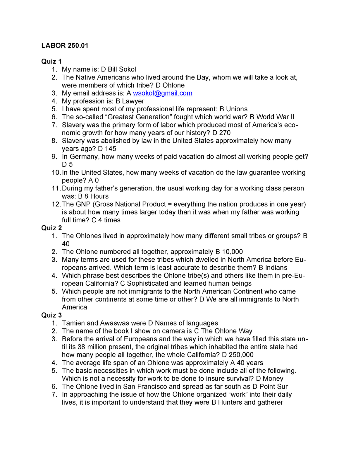 Exam February 14 Spring 2016, questions and answers - SFSU