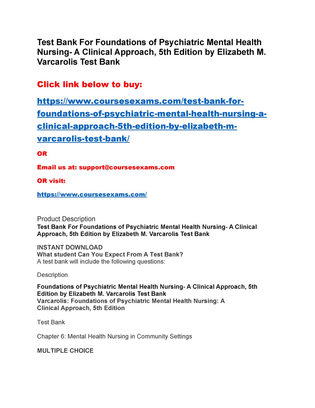 Mental Health Nursing Questions