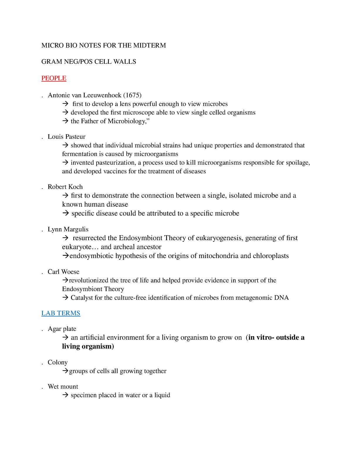 Micro BIO Notes FOR THE Midterm - Micr2420 - U of G - StuDocu