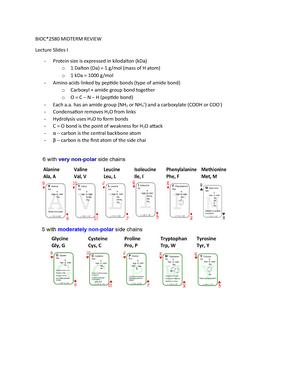BIOC Midterm - Lecture notes 1-10 - BIOC 2580: Introduction