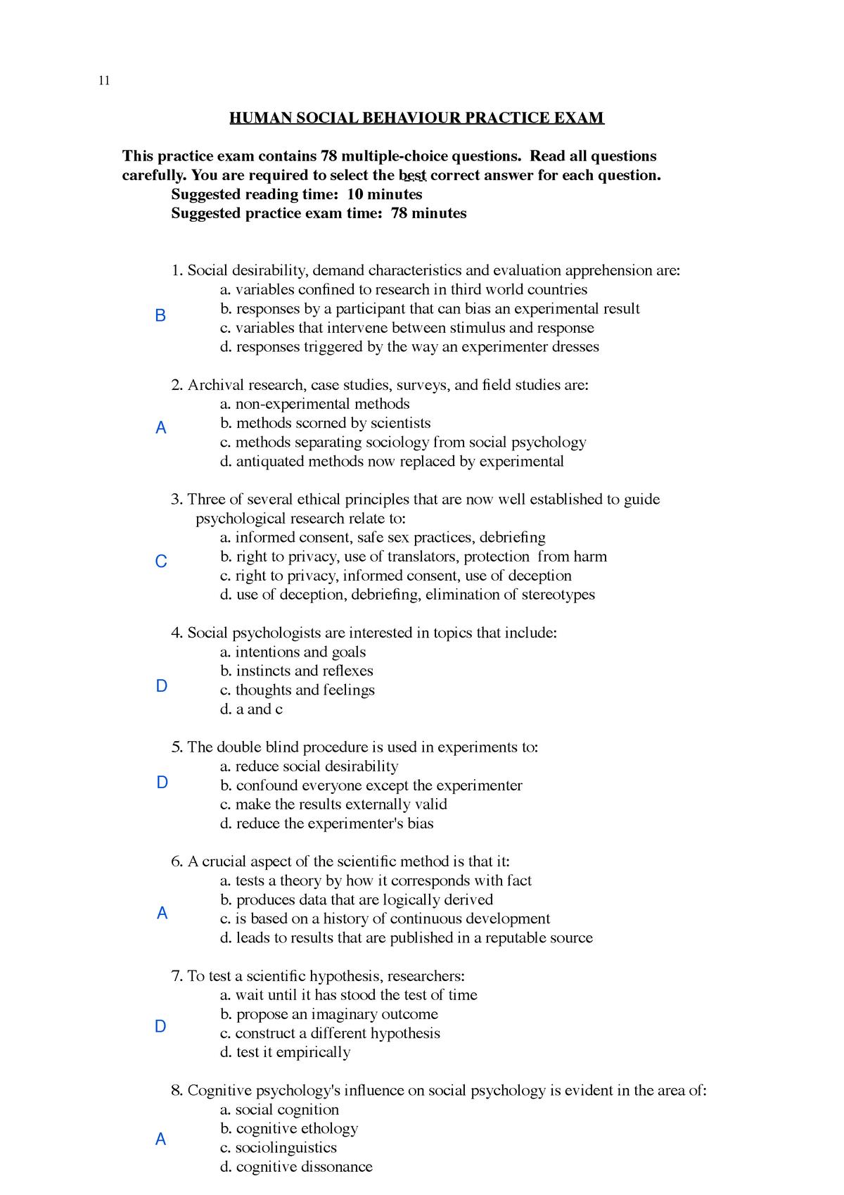 Exam 2017 - D390: Bachelor of Criminology / Bachelor of