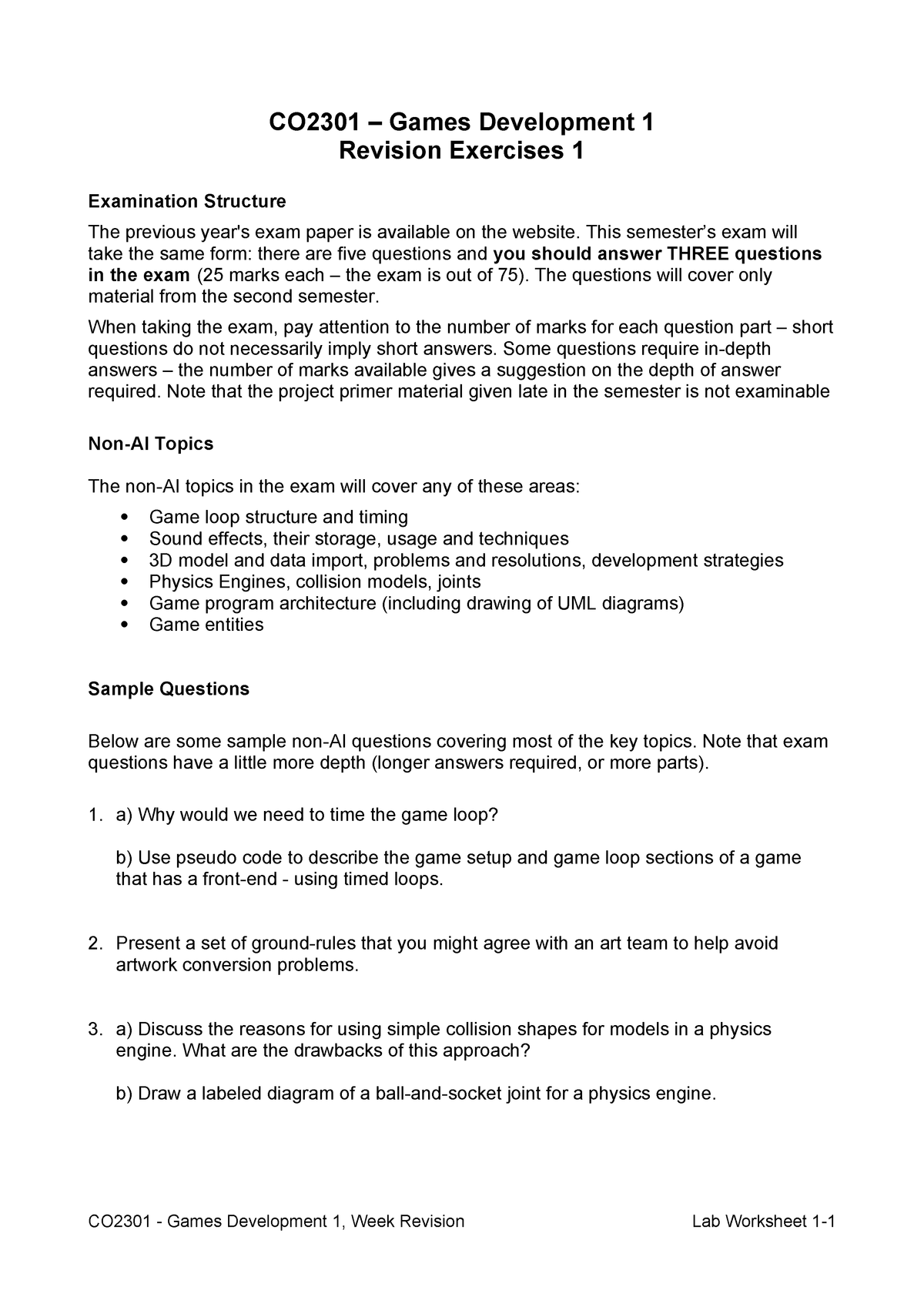 CO2301 24 Lab Worksheet 2008 - Revision Exercises - CO2301