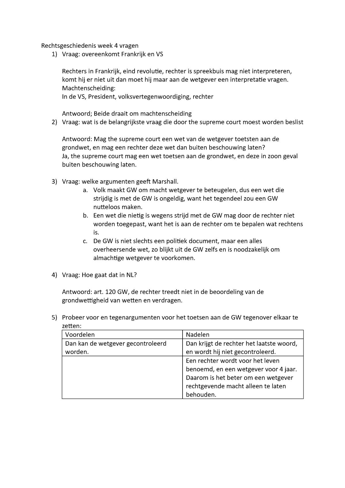 Rechtsgeschiedenis Week 4 Vragen Rgprg00105 Rug Studocu