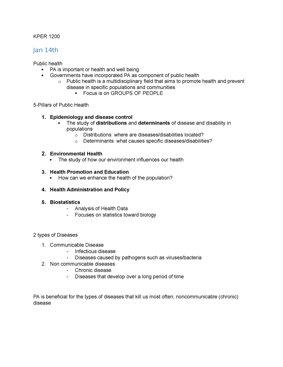 KPER 1200 Ch 1 - Lecture notes 2 - KPER 1200: KPER 1200