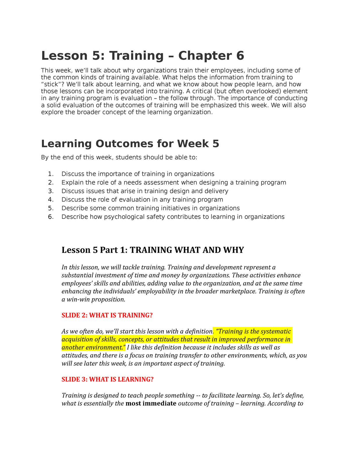 Week 5 - training - Lecture notes 5 - Psyc 3105 - Carleton