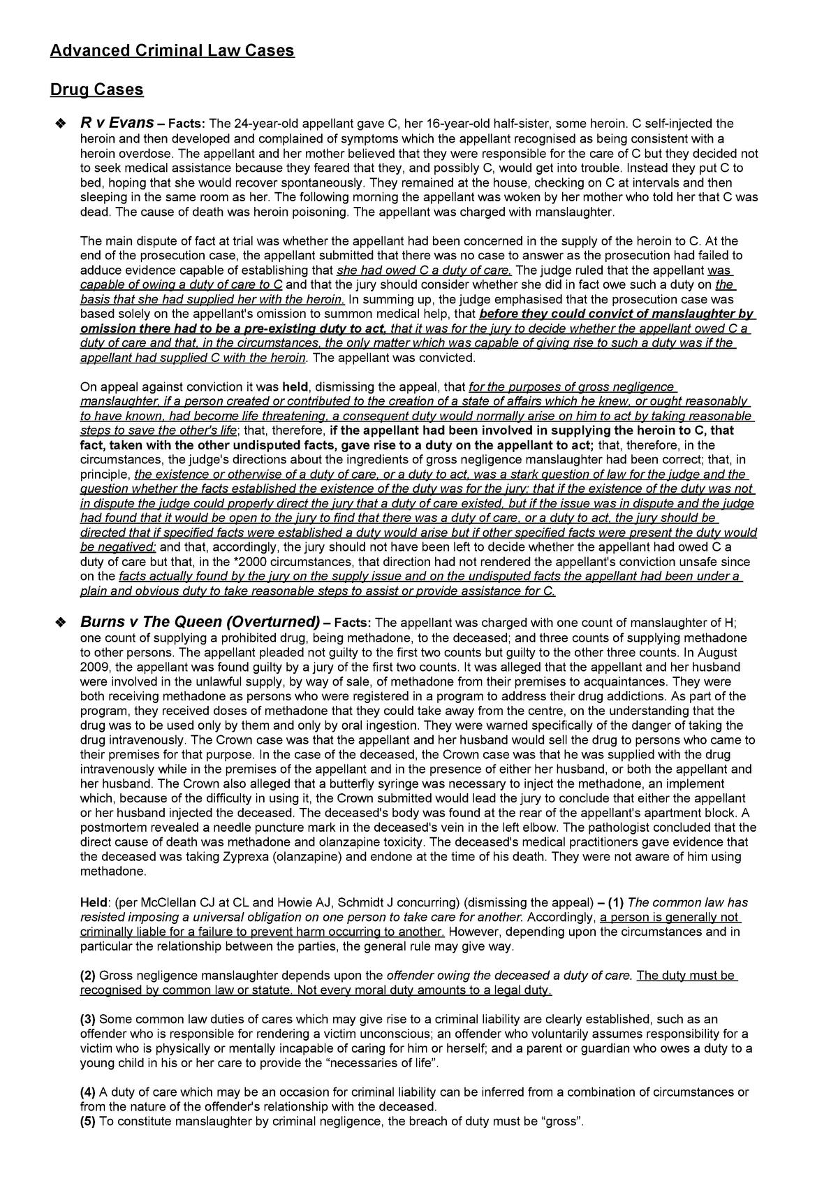 Advanced Crim Cases - LA4010:03: Advanced Criminal Law - StuDocu