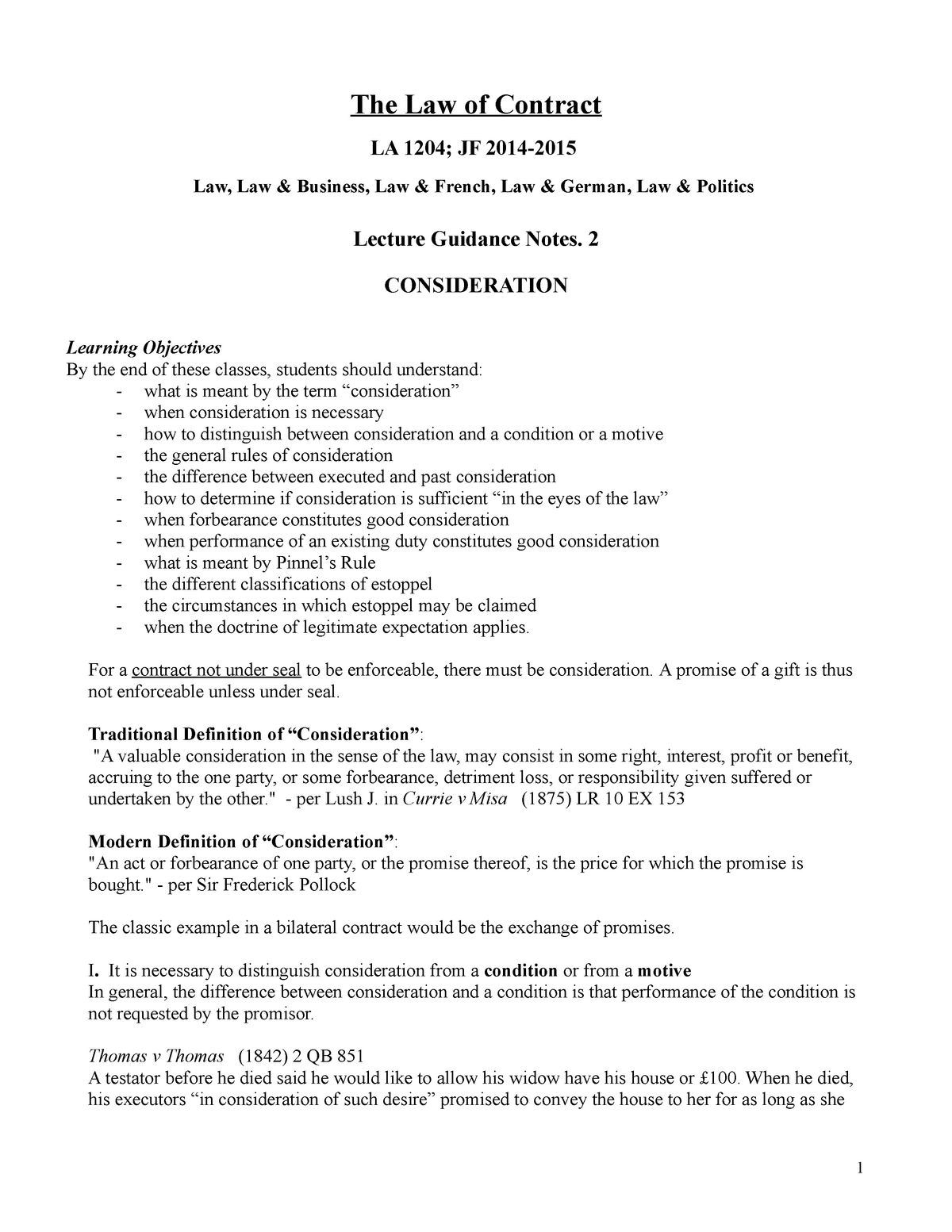 Consideration - Detailed study notes made on the basis of Eoin O'Dell's  contract lectures - StuDocu