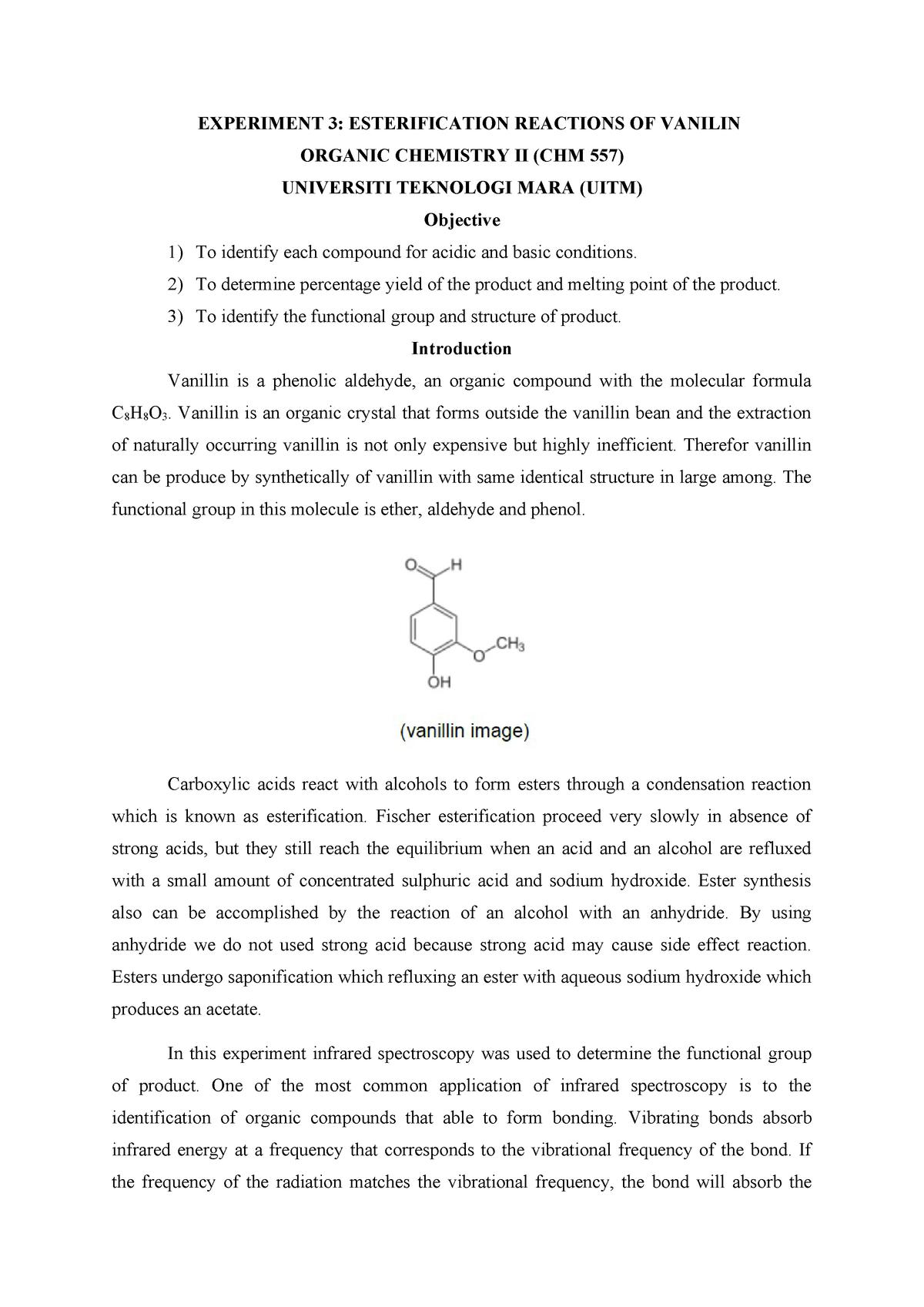 ESTERIFICATION REACTIONS OF VANILIN SLIDE - CHM258
