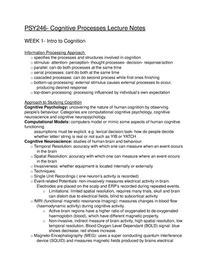 Lecture notes, lectures 1-10 - PSY246 Cognitive Processes I