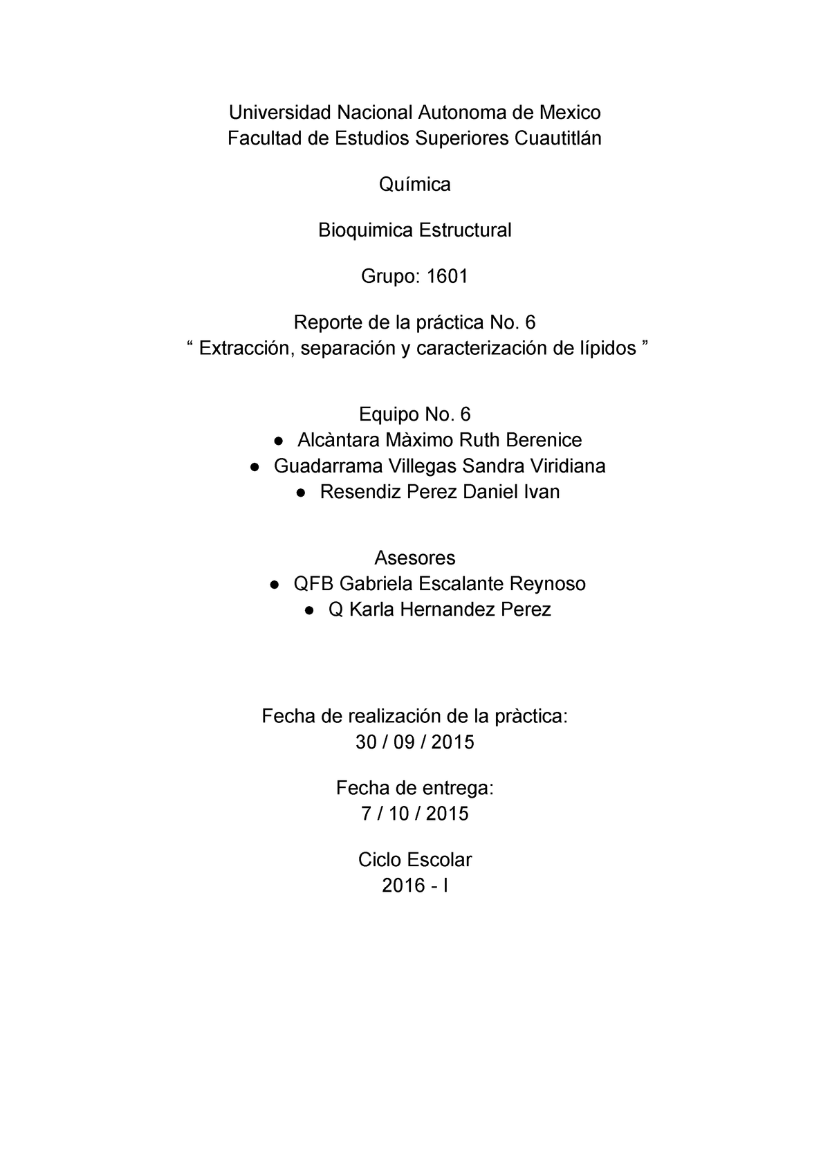 Reporte De Práctica 6 Lípidos Pdf Bioquimica Unam Studocu