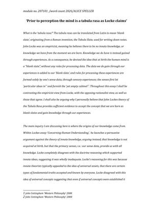 john locke tabula rasa essay