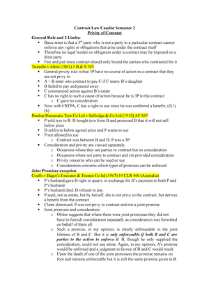 Contract Law Case List Semester 2 Lc1003 Law Of Contract Studocu