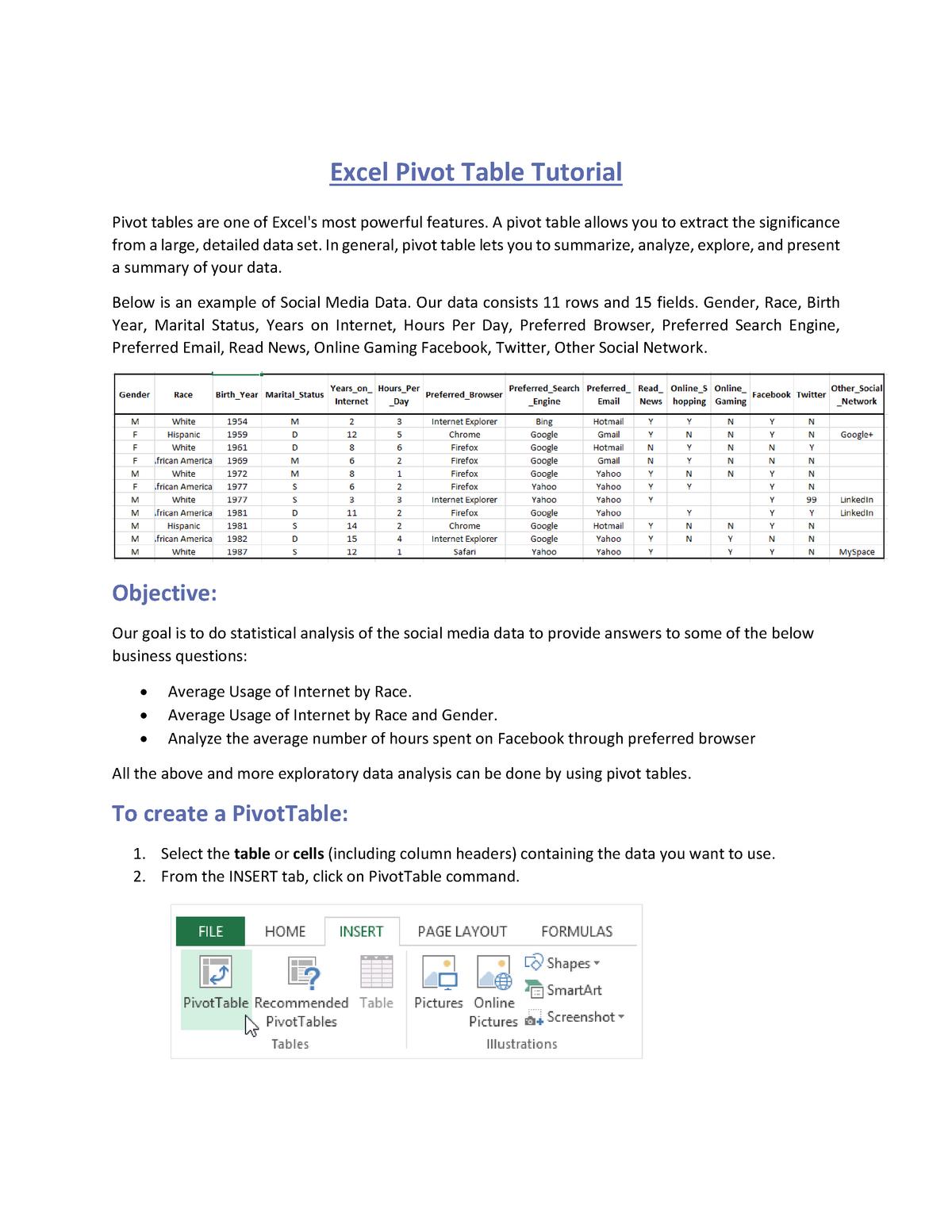 Pivot Table Tutorial - MIS 300 Management Info Systems - StuDocu