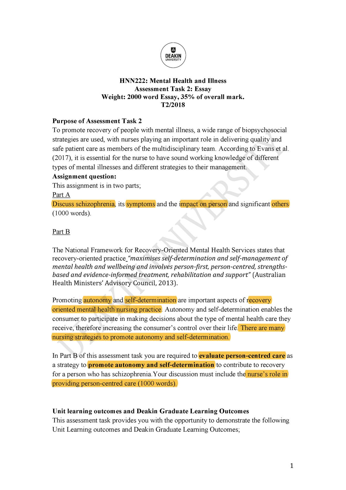 HNN222 T2 2018 Assessment Task 2 Essay - Deakin - StuDocu