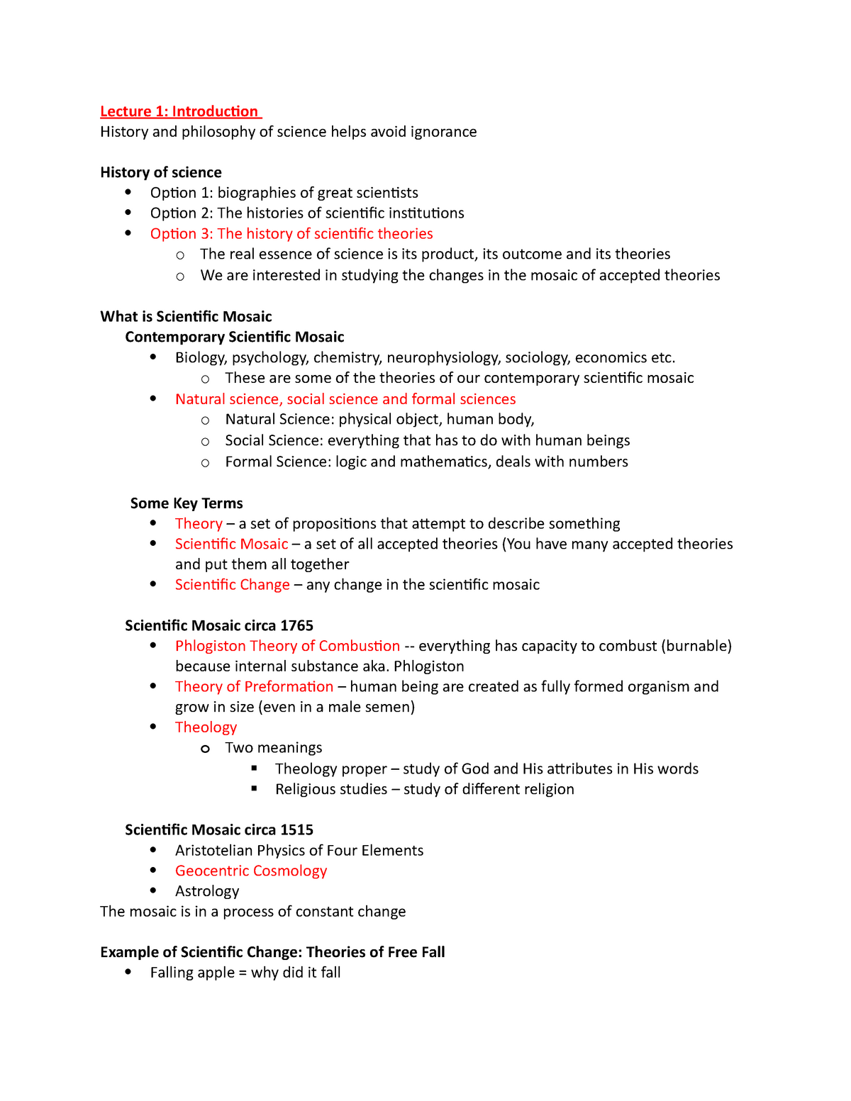 HPS100-Lecture Notes - Hps100H1: Introduction to History and