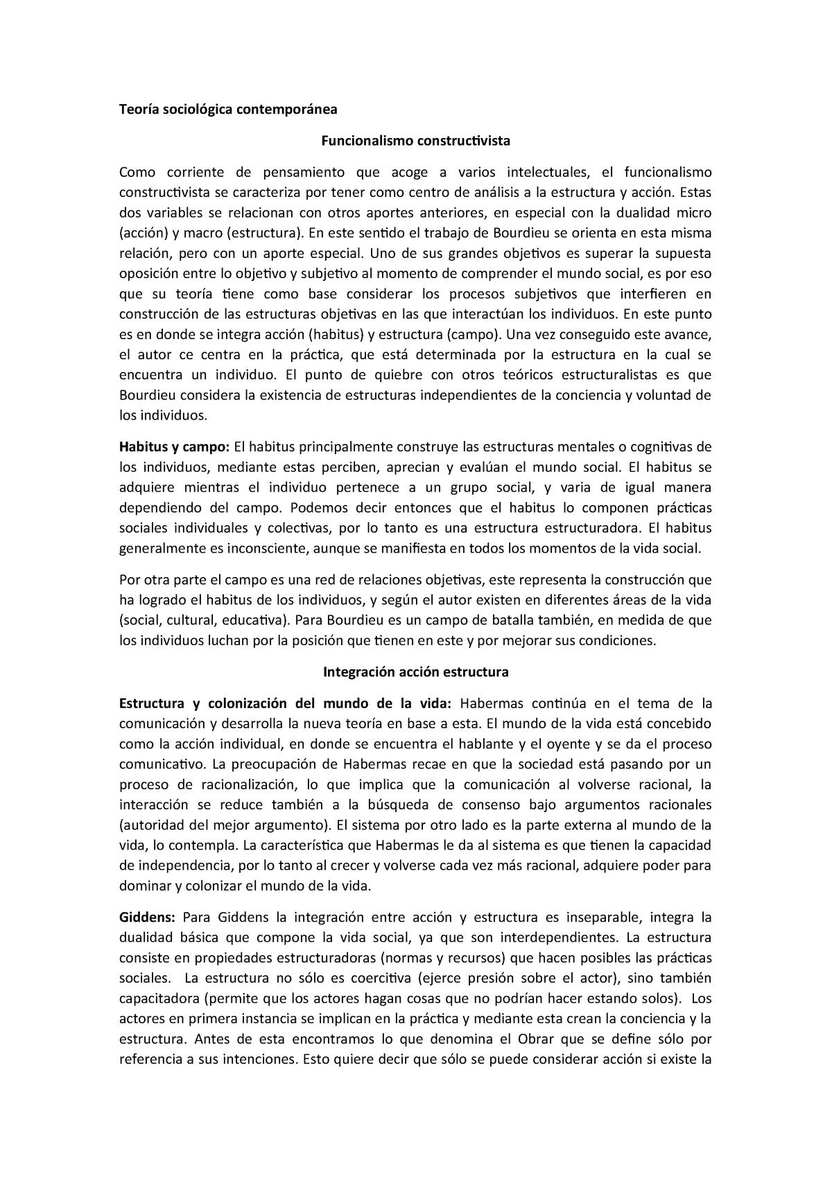 Funcionalismo Constructivista Sociología Uce Studocu