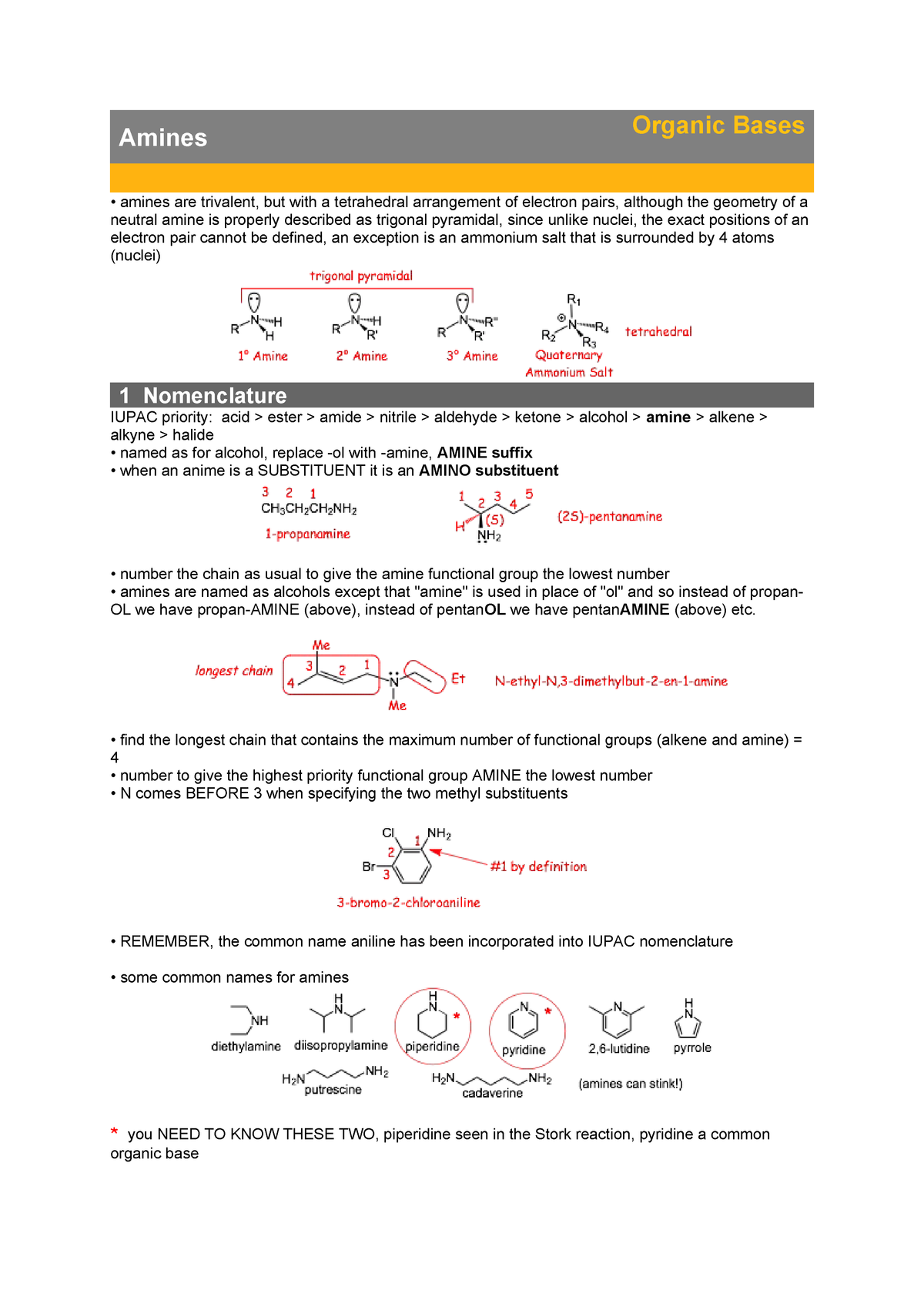 Amines - Organic Bases - Lecture notes 13 - CHM 234 - ASU