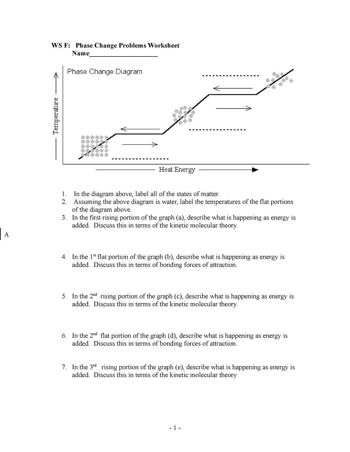 WS F Phase Change Problems Worksheet   StuDocu