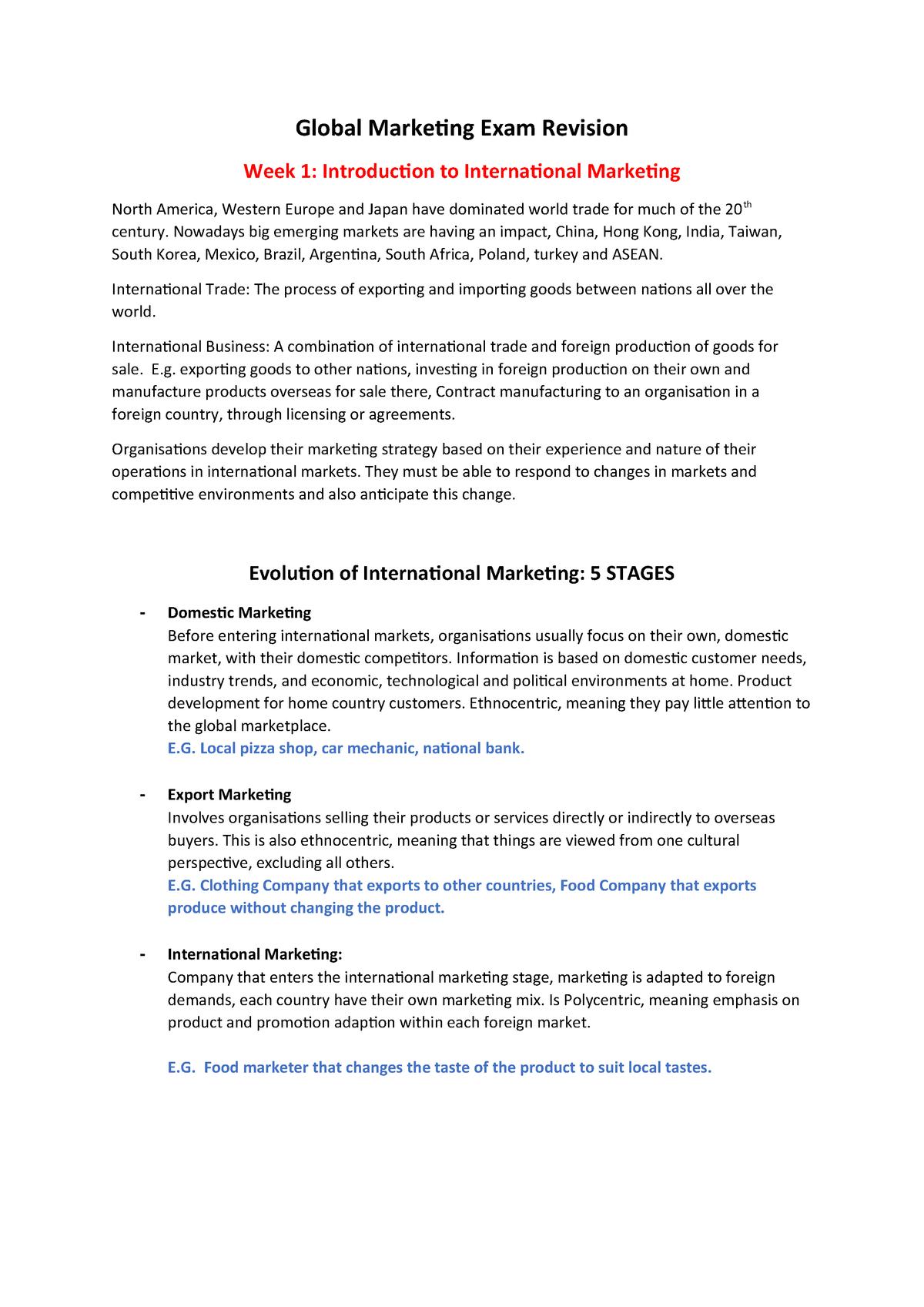 Global Marketing Exam Revision - MKTG1061: Global Marketing