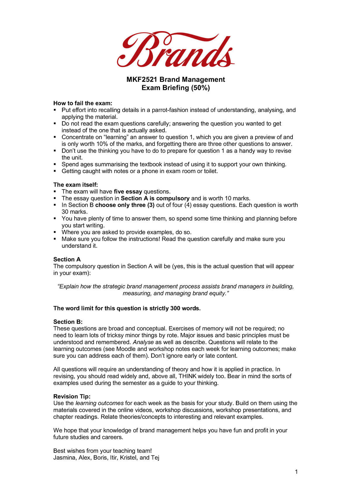 Exam 2018 - MKF2111: Buyer Behaviour - StuDocu