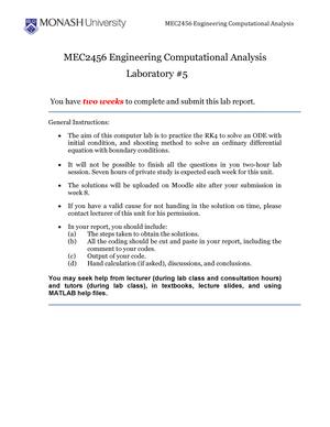 MEC2456 Computer Lab 05 - MEC2456: Engineering Computational