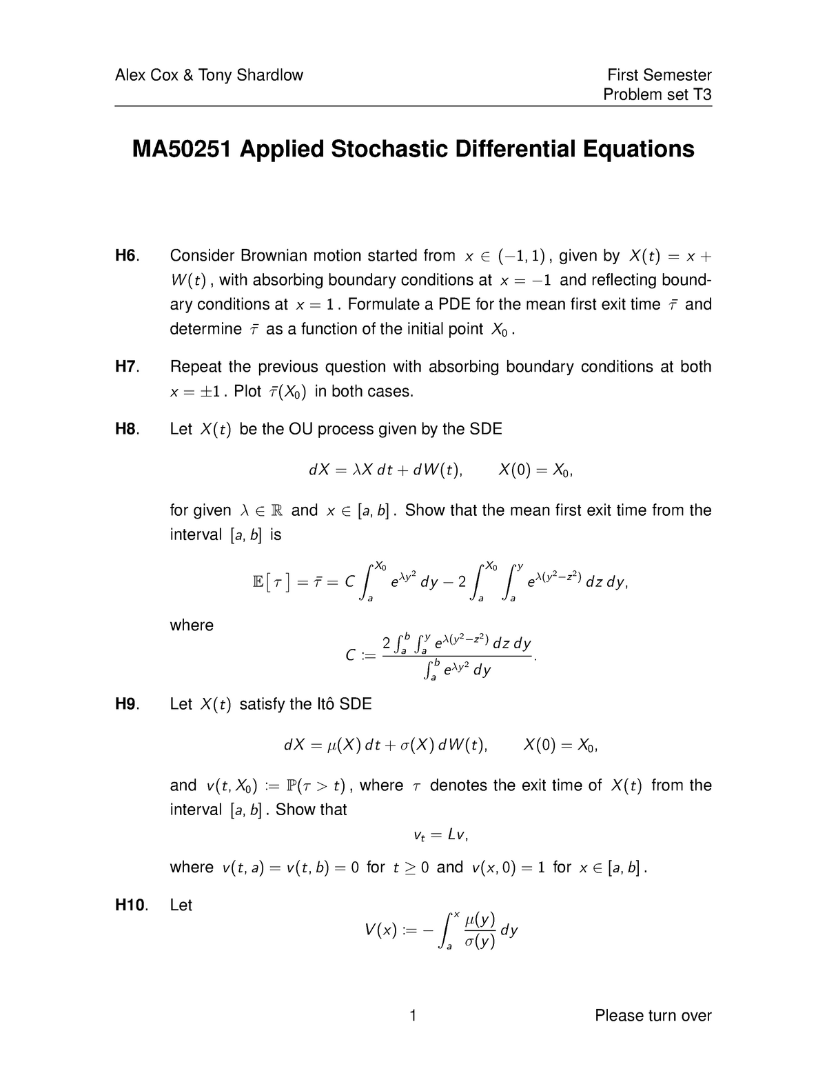 MA50251 2016-2017 Problem Sheet 7 - MA50251: Applied