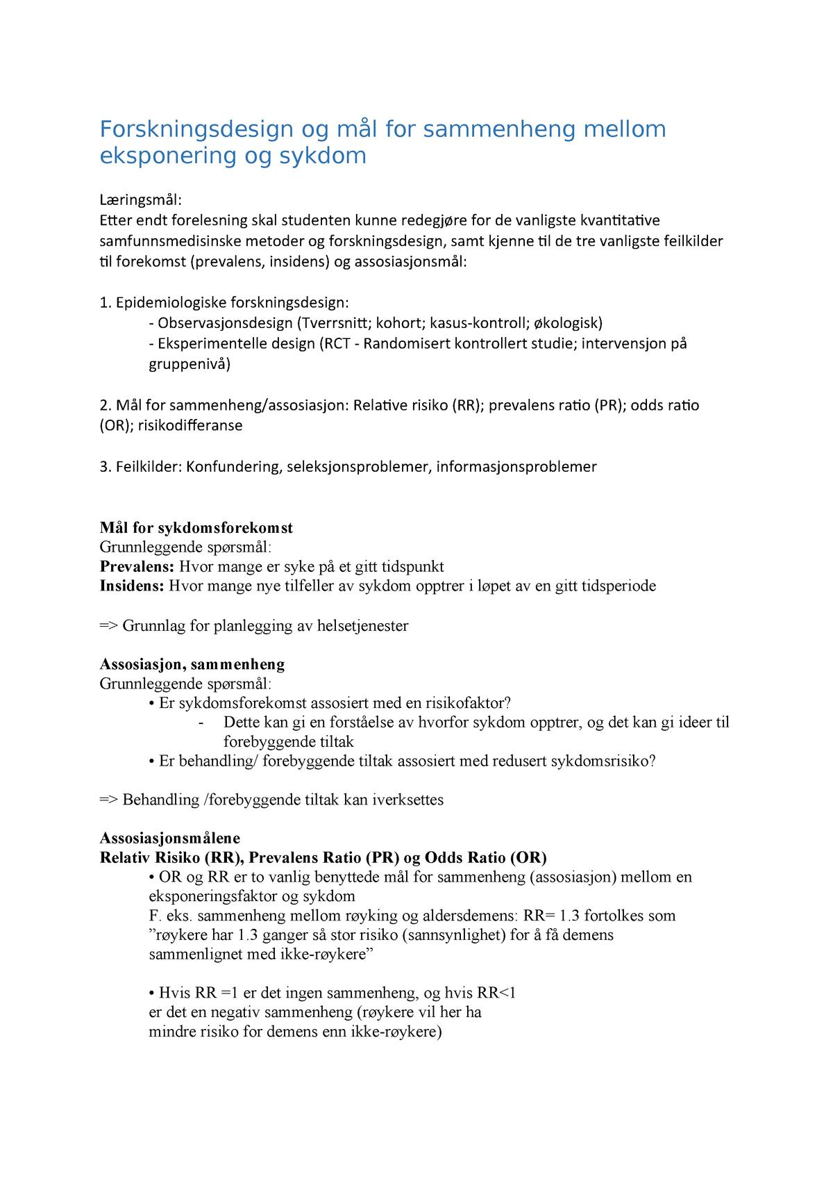 a957df3b6 Forskningsdesign og mål for sammenheng mellom eksponering - StuDocu