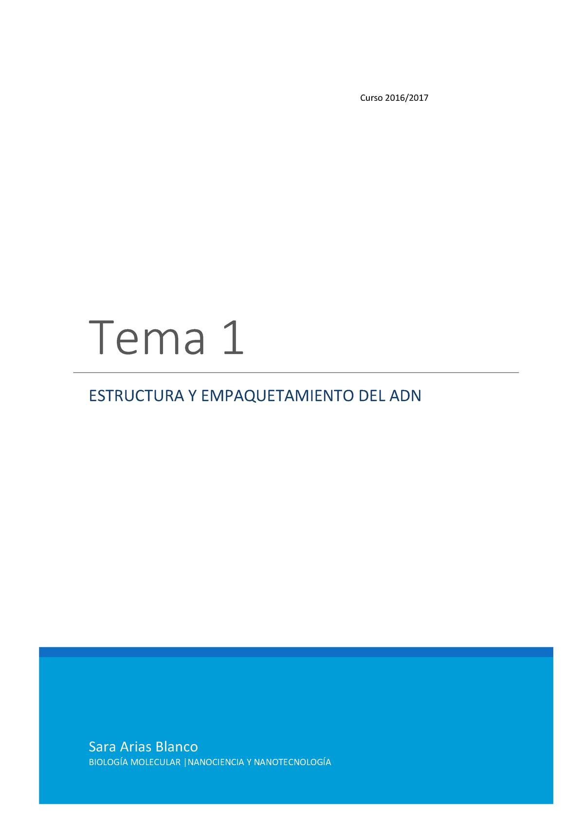 Tema 1 Estructura Y Empaquetamiento Del Adn 100858 Uab