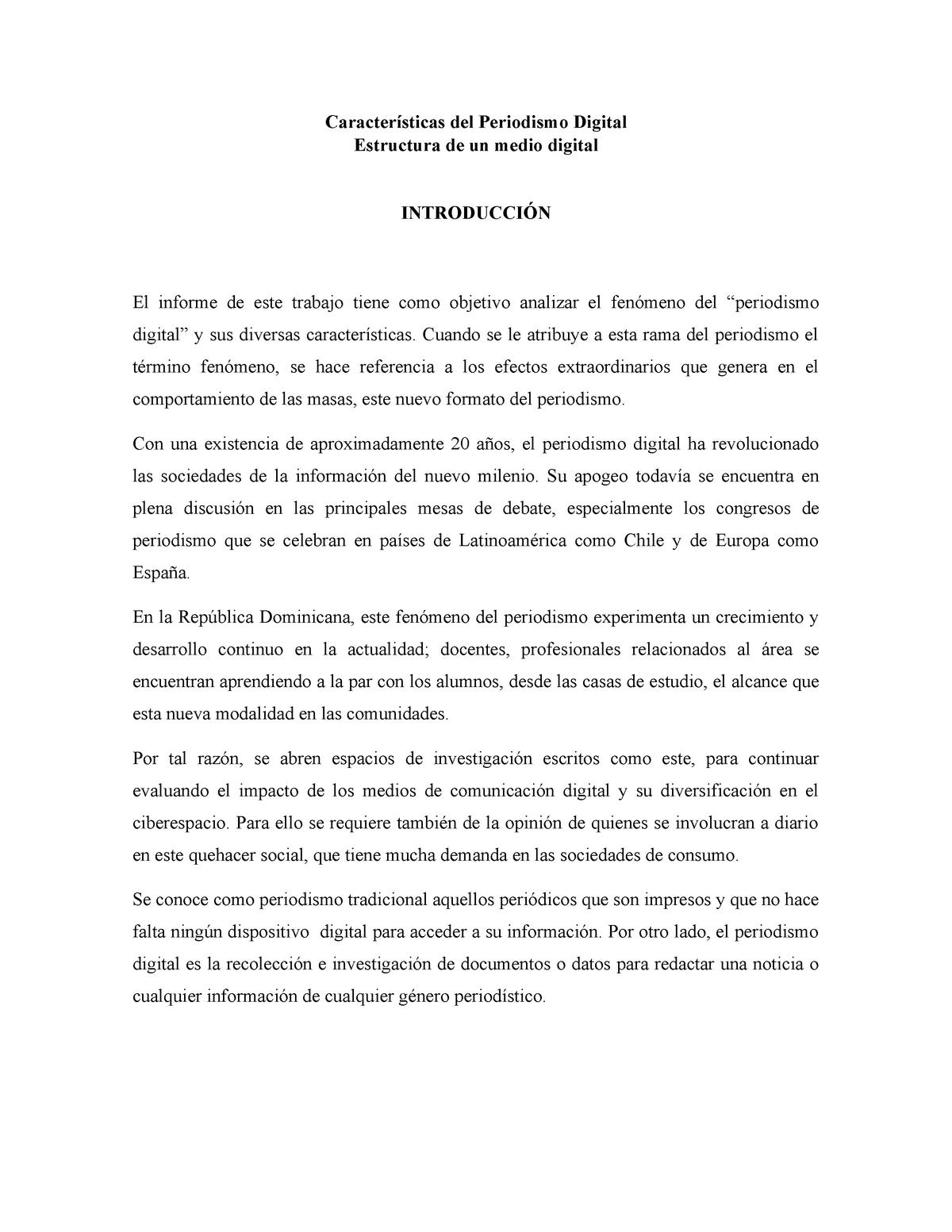 Práctica Características Periodismo Digital Y Estructura De