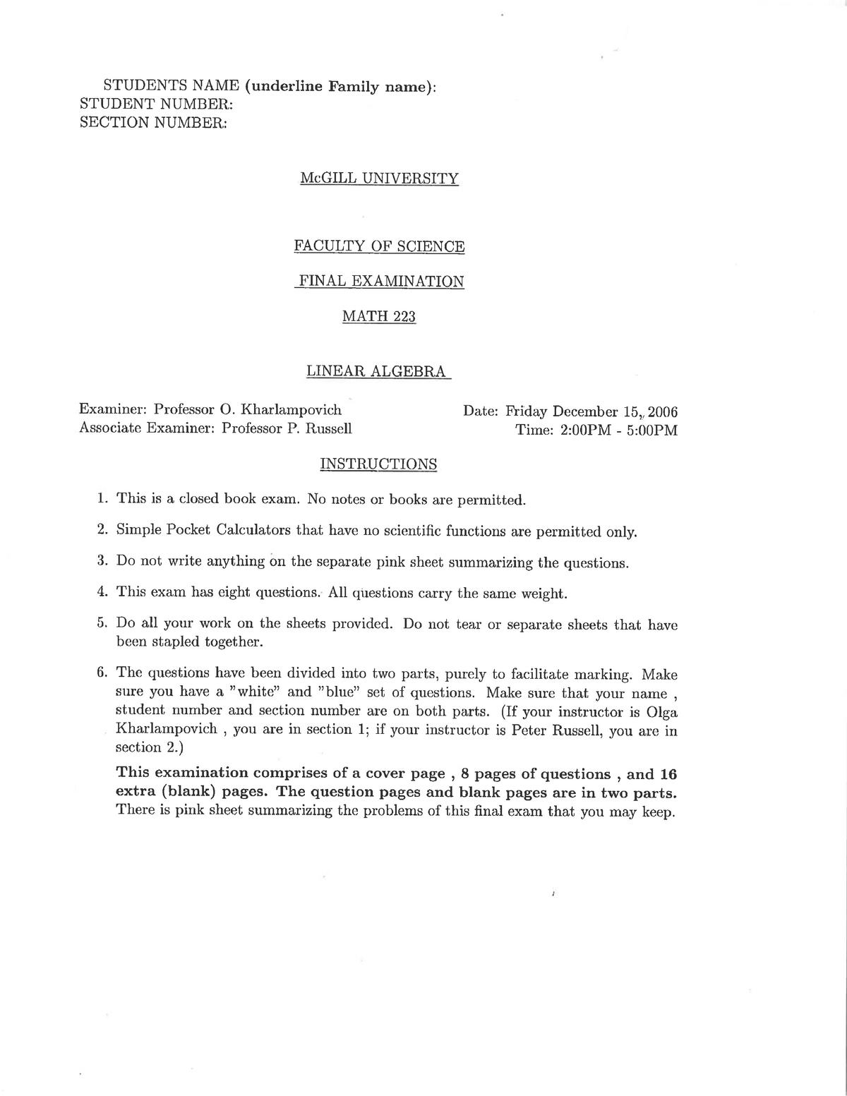 Exam 2006 - MATH 223: Linear Algebra - StuDocu