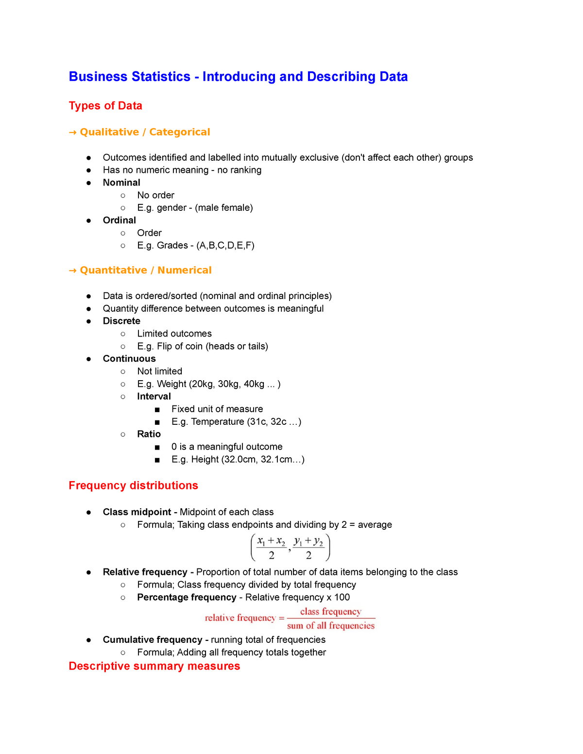 BStats Notes - Chap 1-3 - 021743 Business Excellence - UTS