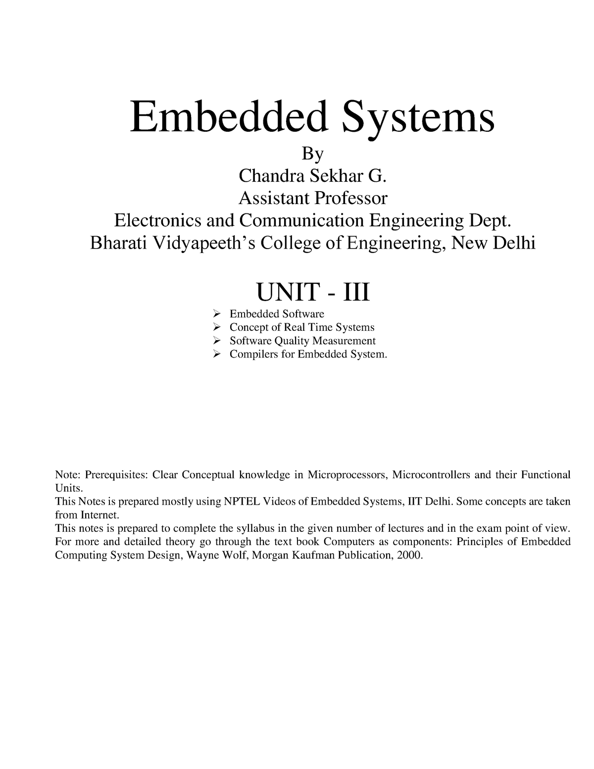 Embedded Systems Notes - Unit - 3 - ETEC 401: Embedded system - StuDocu