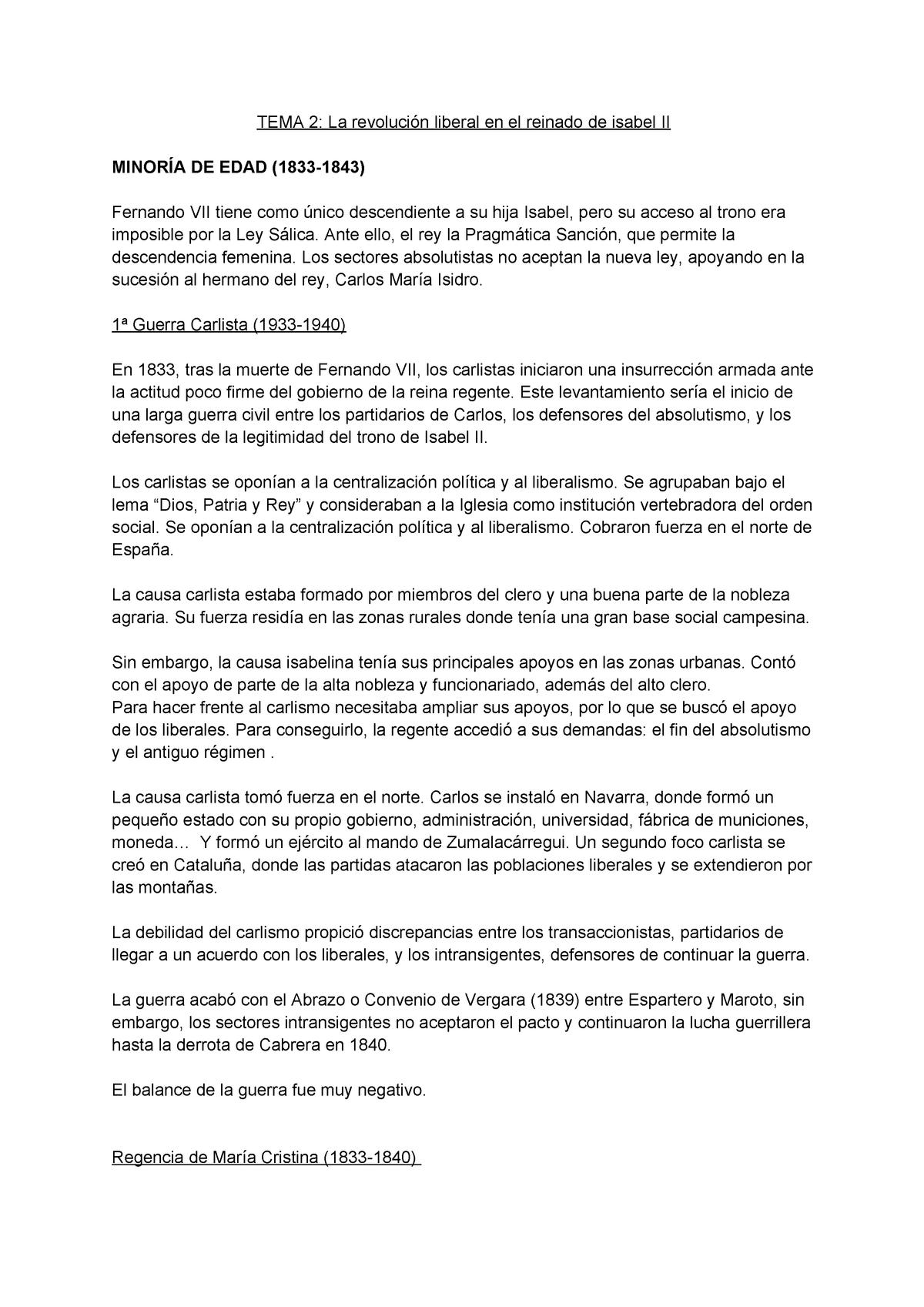 Isabel Ii Resumen Para Selectividad Tema La Revoluci Liberal En El Reinado De Isabel Ii Minor De Edad 1833 1843 Fernando Vii Tiene Como Nico Descendiente Su Studocu