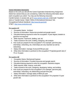 UGS Career Information Summaries - UGS 1050: Major