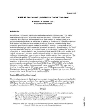 Matlab exercises to explain discrete fourier transforms - 1234
