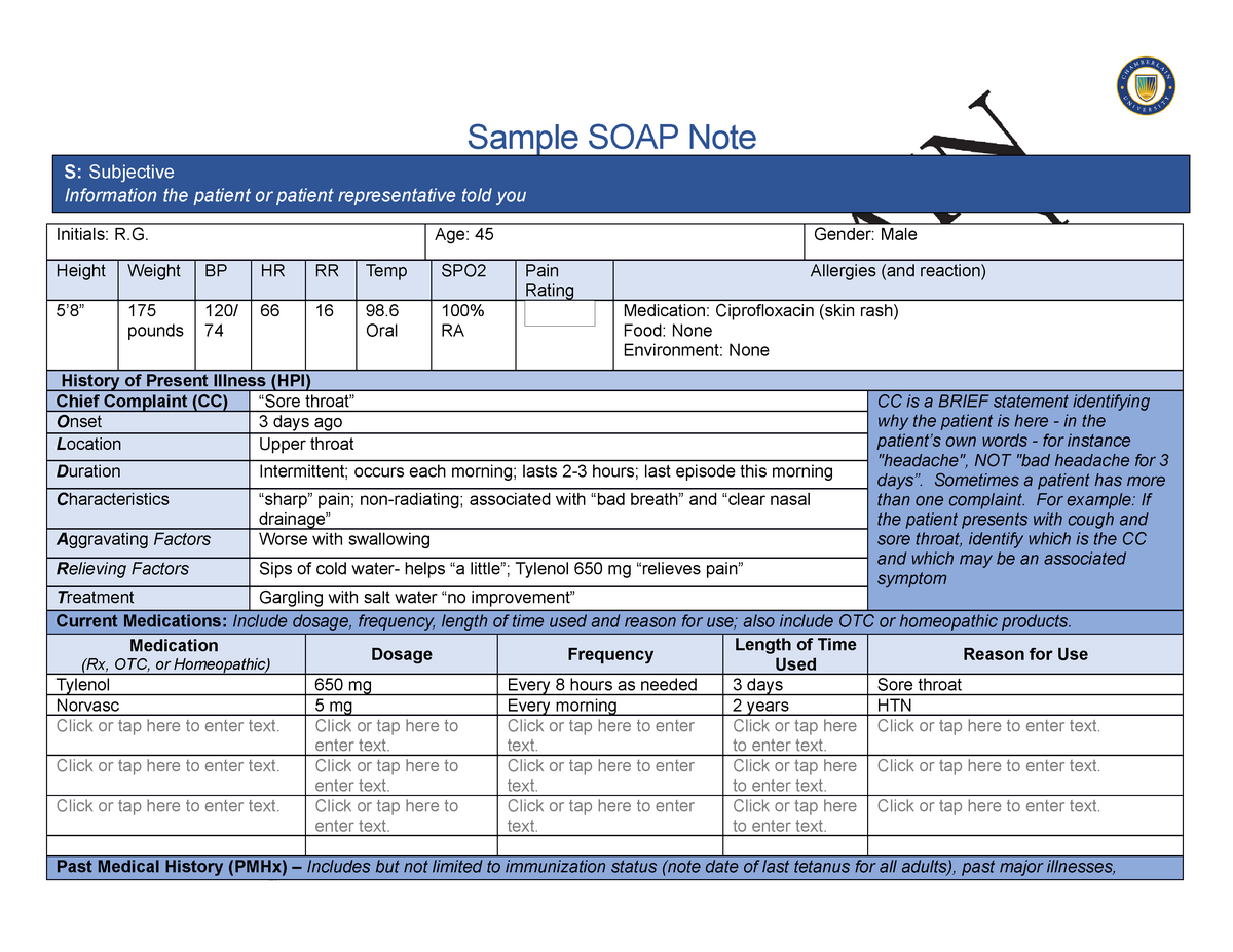 Sample SOAP Note - SOAP note template - Sample SOAP Note Initials Intended For Soap Report Template