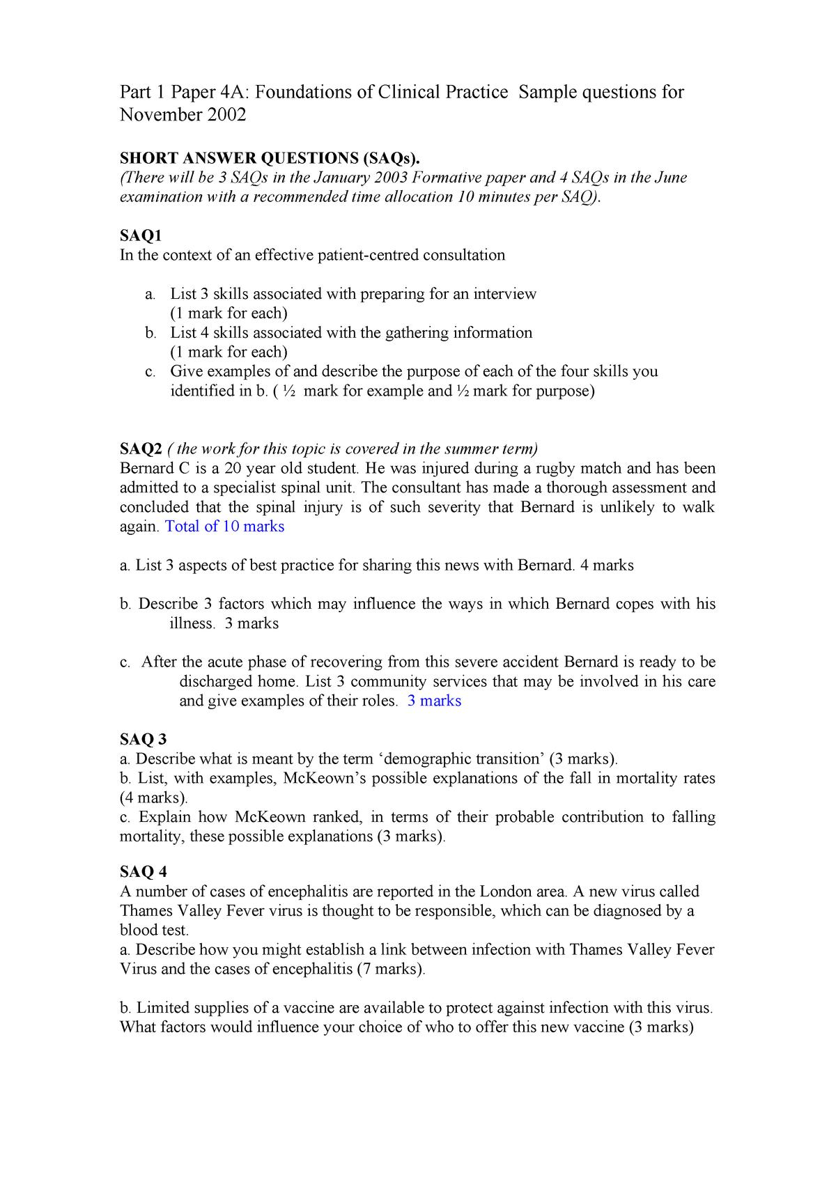 FOCP-Nov02Practice Paper-answers - MED: Medicine - StuDocu