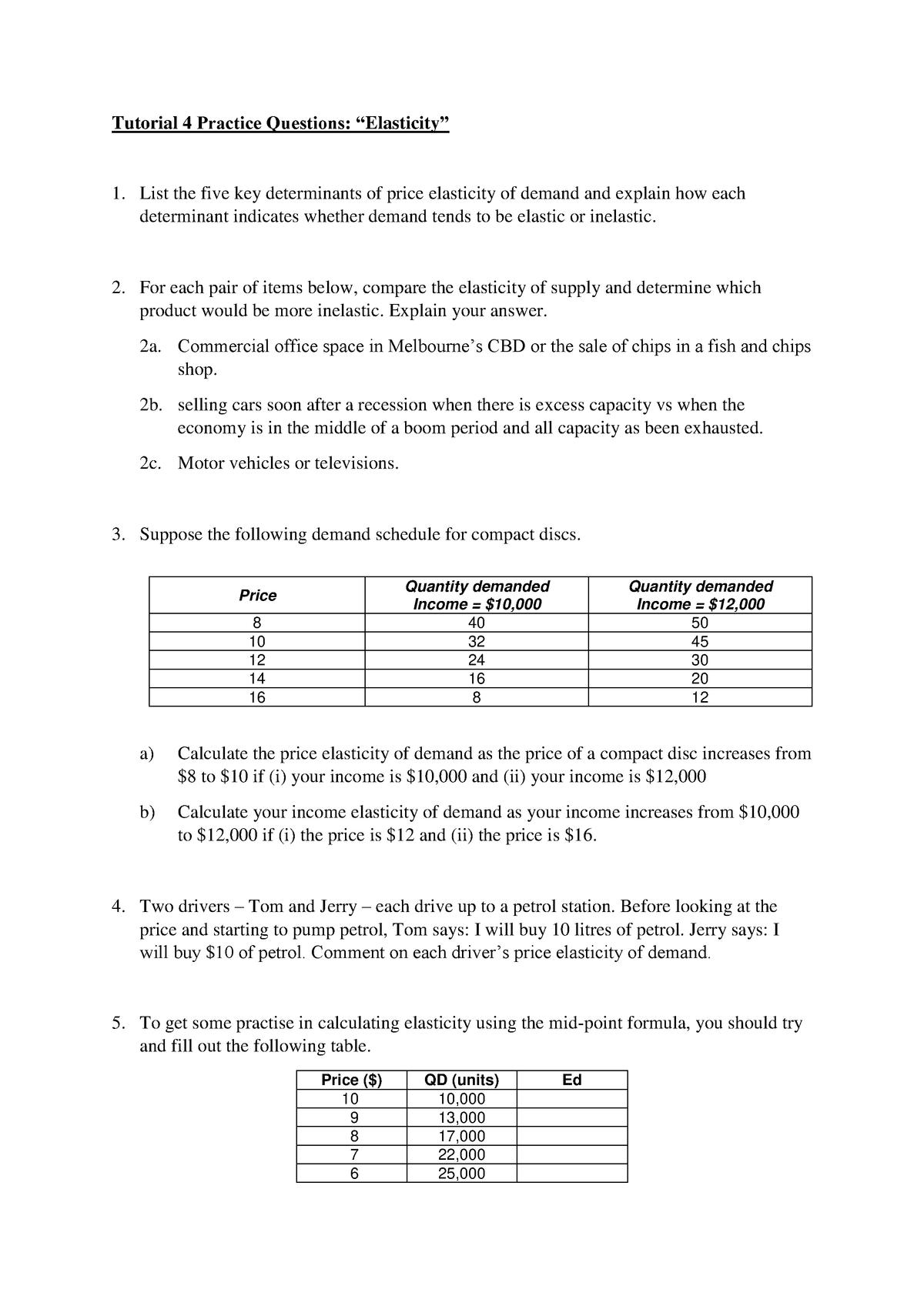 Practice Questions 4 Elasticity Eco10004 Swinburne Studocu