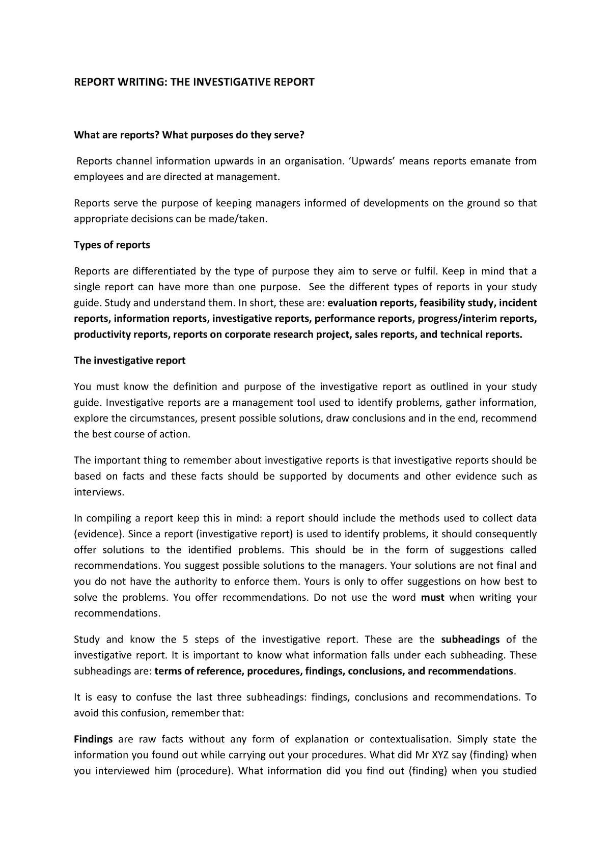 ENN12 Investigative Report Summary - REPORT WRITING: THE